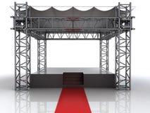 Etapa del aire abierto del festival con la alfombra roja para las celebridades stock de ilustración