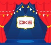 Etapa del circo con las luces, las cortinas rojas y la muestra de la carpa Diseño del vector Imagenes de archivo