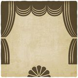 Etapa del teatro con el viejo fondo de las cortinas stock de ilustración