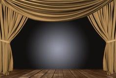 Etapa del teatro del oro cubierta con las cortinas stock de ilustración