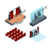Etapa del teatro isométrica Colección roja interior del vector del asiento del teatro de los actores de la cortina del pasillo de libre illustration