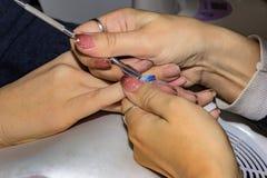Etapa do processo do tratamento de mãos Imagens de Stock Royalty Free