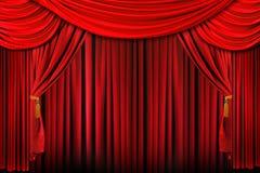 Etapa en la iluminación dramática roja brillante Foto de archivo libre de regalías