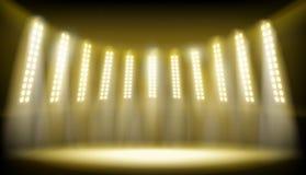 Etapa iluminada en el estadio Ilustración del vector ilustración del vector