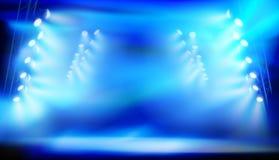 Etapa iluminada por los proyectores durante la demostración Ilustración del vector stock de ilustración