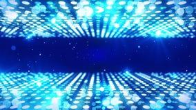 Etapa que enciende el fondo con efecto luminoso muchos Animación abstracta del lazo del disco Iluminación de neón que brilla inte ilustración del vector