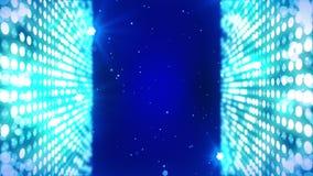 Etapa que enciende el fondo con efecto luminoso muchos Animaci?n abstracta del lazo del disco Iluminaci?n de ne?n que brilla inte libre illustration