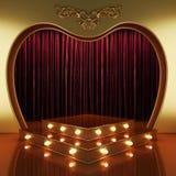 Etapa roja de la cortina con las luces Imagen de archivo