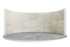 Etapa vacía o sitio redondo con el piso y la pared de piedra ilustración del vector