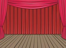 Etapa y cortina roja Foto de archivo