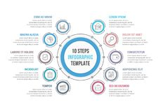 10 etapas - círculo Infographics Foto de Stock Royalty Free