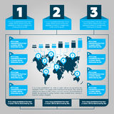 Etapas de Infographics com worldmap Foto de Stock Royalty Free