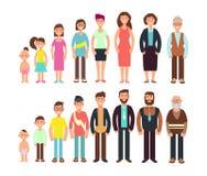 Etapas de la gente del crecimiento Niños, adolescente, adulto, viejo hombre y caracteres del vector de la mujer fijados ilustración del vector