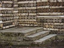 Etapas de pedra e casa de madeira Fotos de Stock Royalty Free