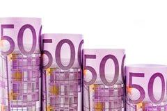 Etapas de queda feitas de 500 euro- cédulas Imagens de Stock Royalty Free