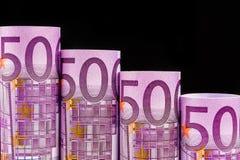 Etapas de queda feitas de 500 euro- cédulas Foto de Stock Royalty Free