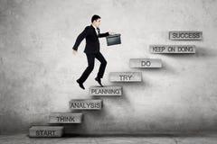 Etapas do homem de negócios em escadas com texto do planeamento Imagens de Stock