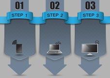 Etapas do progresso, molde vazio para infographic em seu Web site Fotos de Stock