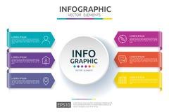 6 etapas infographic molde do projeto do espaço temporal com etiqueta do papel 3D Conceito do negócio com opções Para o índice, d ilustração stock