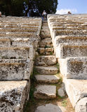 Etapas no teatro de Epidavros, Greece Imagens de Stock