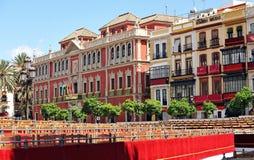 Etapas y soportes, semana santa en Sevilla, plaza San Francisco, Andalucía, España Fotos de archivo libres de regalías