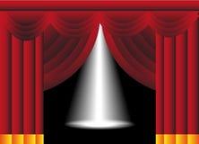 Etapp med gardiner och strålkastaren stock illustrationer