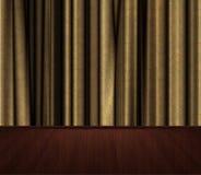Etapp med guld- cutains Arkivfoto