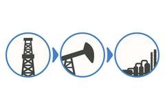 Etapper av olje- extraktion, från borrande till produktion; infograph royaltyfri illustrationer