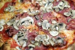Etapper av pizzaförberedelsen som förlägger pizza i ugnen Royaltyfri Fotografi