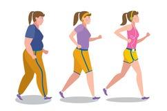 Etapper för viktförlust på vit vektor illustrationer