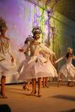 Etappkapaciteten av den exklusiva restaurangen dansarna för sommarslotten dansar showen av helhetgruppstilen Royaltyfri Bild