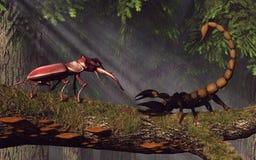 Etappskalbagge Vs skorpion royaltyfri illustrationer