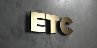 Etc - Gold sign mounted on glossy marble wall  - 3D rendered royalty free stock illustration. This image can be used for an online website banner ad or a print Royalty Free Stock Photos