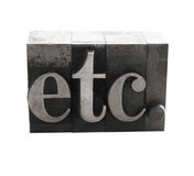 Etc. in old metal type Stock Photos