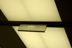 Etcetera. Sign on ceiling 'etc royalty free stock photo