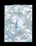 Etched Glass Window with Swirl of Flowers and Clouds. An etched glass window depicting flowers silhouetted against a blue sky with white clouds Stock Photos
