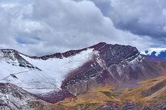 Etched Mountains. Walking on a trail up to the Rainbow Mountains in Peru Stock Image
