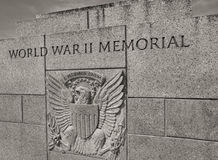 Etched in Stone--U.S. National World War II Memorial. In memory of the significant sacrifices that millions of men and women made for America during the Second Stock Image