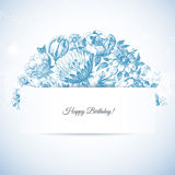 Etching floral garden greeting card Stock Photo