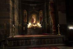 Etchmiadzin Armenien, September 17, 2017: Inre av helgonet Hrip Royaltyfri Bild