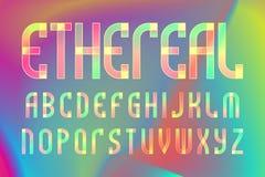 Eteriskt bokstavsalfabet Färgrik genomskinlig stilsort Isolerat engelskt alfabet på regnbågsskimrande bakgrund royaltyfri illustrationer