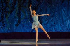 This eternal ballet tale. DNIPRO, UKRAINE - JUNE 17, 2017: An unidentified girl, age 11 years old, performs This eternal ballet tale at State Opera and Ballet Royalty Free Stock Images