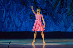 This eternal ballet tale. DNIPRO, UKRAINE - JUNE 17, 2017: An unidentified girl, age 11 years old, performs This eternal ballet tale at State Opera and Ballet Royalty Free Stock Photo