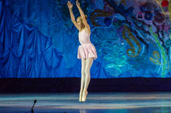This eternal ballet tale. DNIPRO, UKRAINE - JUNE 17, 2017: An unidentified girl, age 11 years old, performs This eternal ballet tale at State Opera and Ballet Royalty Free Stock Image