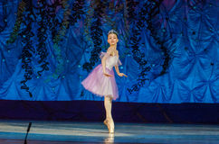 This eternal ballet tale. DNIPRO, UKRAINE - JUNE 17, 2017: An unidentified girl, age 11 years old, performs This eternal ballet tale at State Opera and Ballet Stock Images