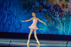 This eternal ballet tale. DNIPRO, UKRAINE - JUNE 17, 2017: An unidentified girl, age 11 years old, performs This eternal ballet tale at State Opera and Ballet Royalty Free Stock Photos