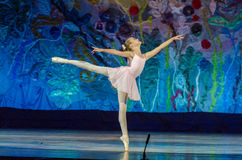 This eternal ballet tale. DNIPRO, UKRAINE - JUNE 17, 2017: An unidentified girl, age 11 years old, performs This eternal ballet tale at State Opera and Ballet Stock Photography