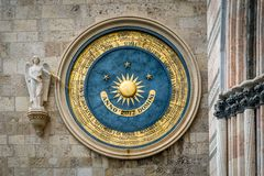 Eternal calendar in Messina. Ancient eternal cathedral calendar and clock in Messina. Sicily royalty free stock images