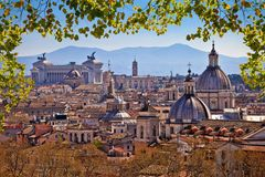 Eternal city of Rome landmarks an rooftops skyline view. Capital of Italy stock photography