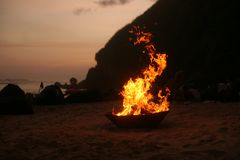 Eternal Fire on the beach. An amazing holiday royalty free stock image